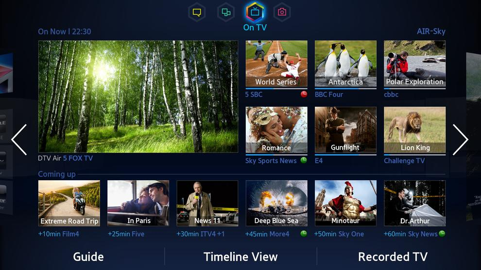 The On TV screen of Smart Hub, which recommends you shows that S-Recommendation has picked out.