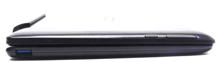 The right side of the tablet has the Windows Home button and the volume buttons, while the base has a USB 3.0 port.