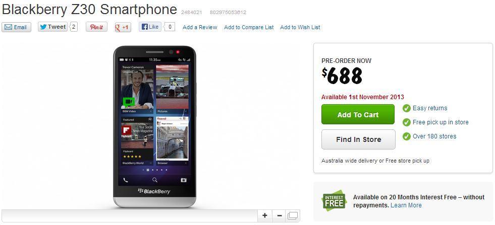 The BlackBerry Z30, as it appears on Harvey Norman's Web site.