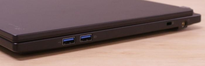 The right side has two more USB 3.0 ports, the power port, and the Kensington lock facility. The SD card slot is at the front.