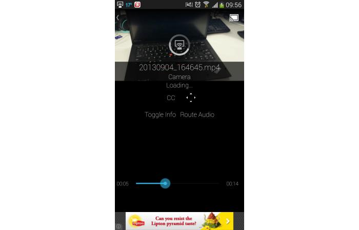 Using the third-party app, LocalCast, to play videos stored on a smartphone through the Chromecast.