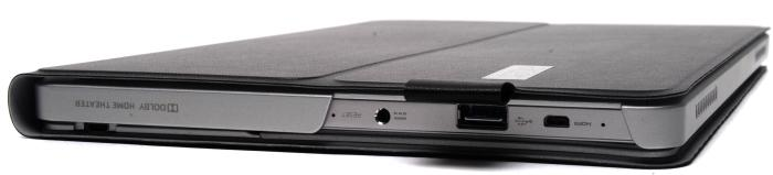The left side has the USB 3.0 port and the micro-HDMI port. An adapter for a VGA output is supplied in the box, and that can plug into the micro-HDMI port.