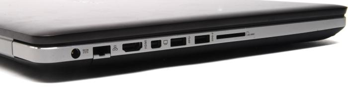 The left side has the networking and video ports, as well as two USB 3.0 ports, and the SD card slot.