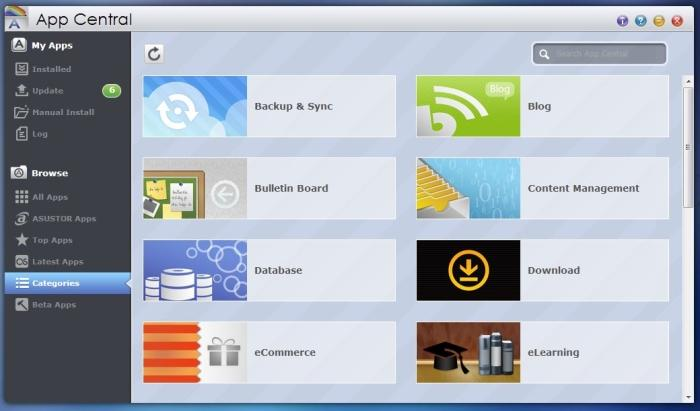 App Central features numerous apps from different categories that can give the NAS device extra functionality.