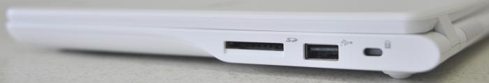 The right has the SD card slot (though cards only go in half way), another USB 2.0 port, and the Kensington lock slot.