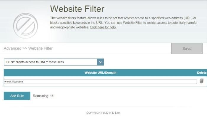 A URL filter is present, but it didn't work properly for us.