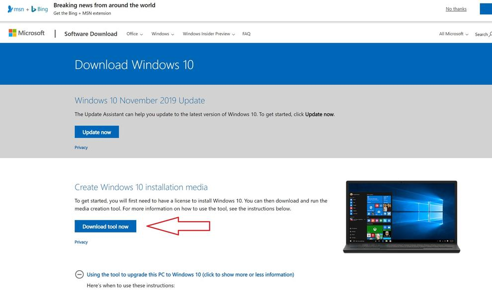 Go to the Windows 10 download page and download the upgrade tool