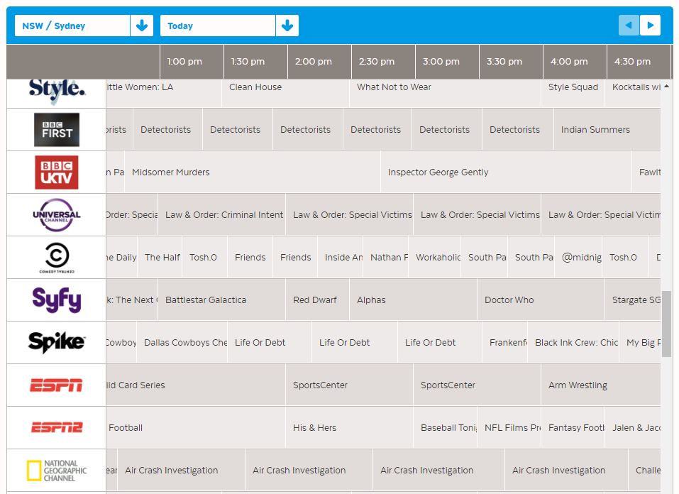 Freeview and internet channels are listed seamlessly in the EPG.