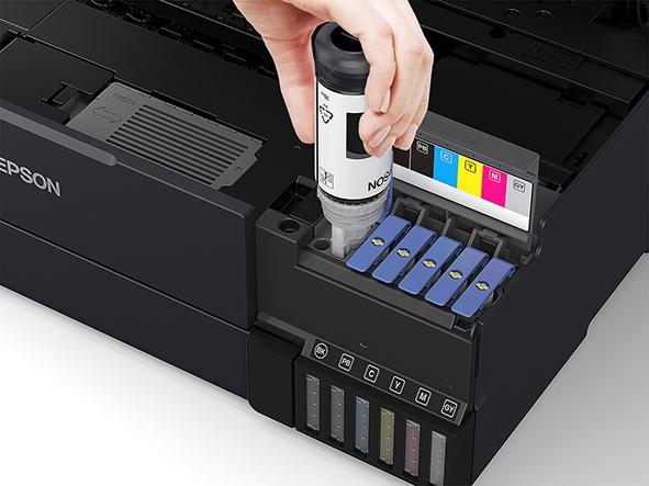 The EcoTank printers can be topped up with replacement ink bottles.