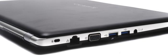 Left side: cable lock facility, Gigabit Ethernet, VGA, USB 3.0, headset port.