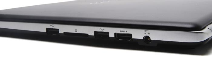 Right side: USB 2.0, full-sized SD card slot, USB 2.0, HDMI, power.