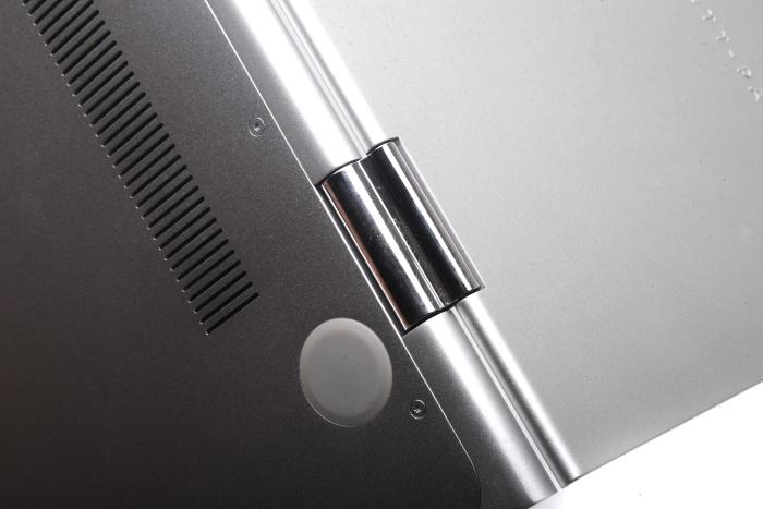 One of the two hinges that make tablet mode possible.
