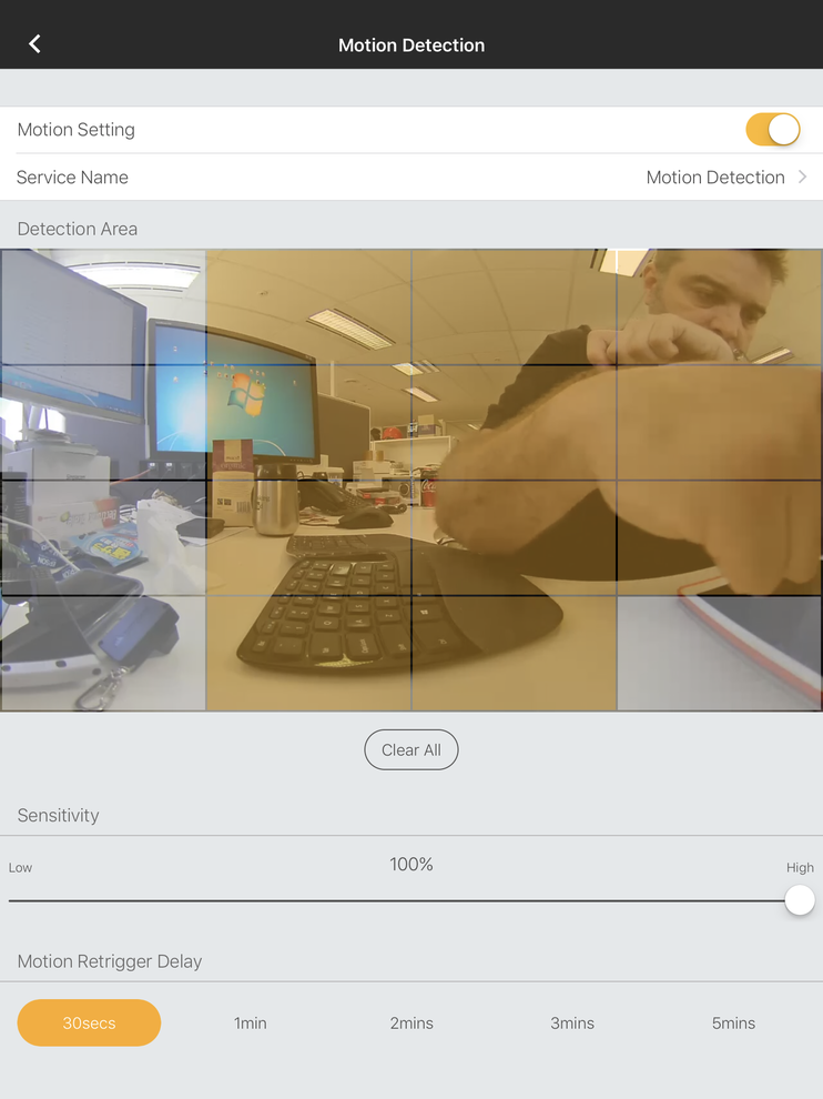 Motion detection is easy to set up. Footage is stored on a microSD card.