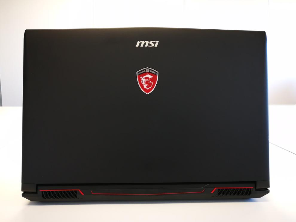 Some MSI gaming laptops have contoured lids, but this variant is flat.