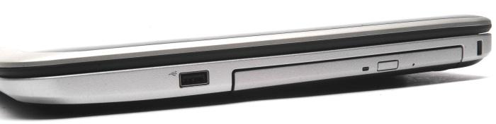 The right side is bare apart from the DVD burner, a USB 2.0 port and the cable lock facility.