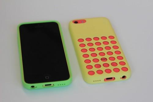 Apple's iPhone 5c Case covers the back and sides of its new phone, leaving the screen exposed.