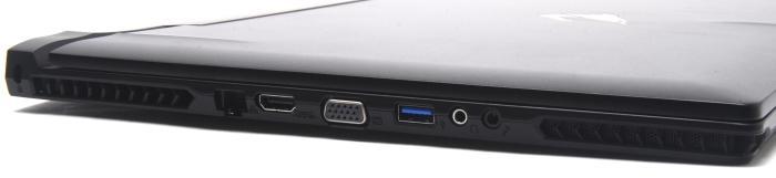 The left has Gigabit Ethernet, HDMI, VGA, USB 3.0, headphone, and microphone ports.