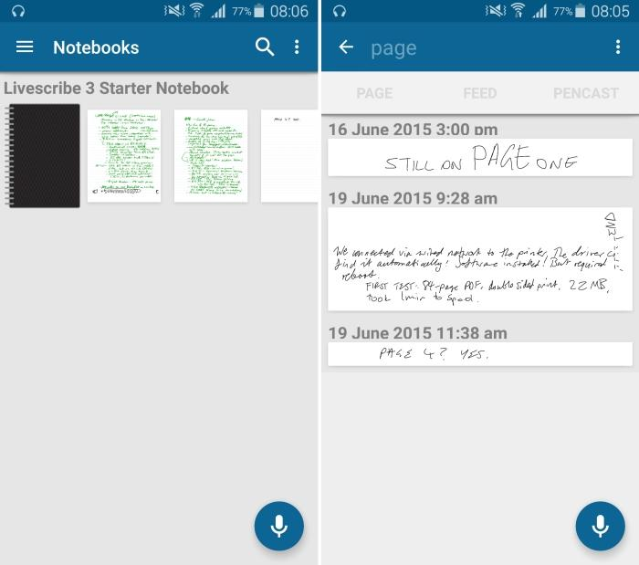 The main screen on the left shows the pages within the notepad. The screen on the right shows the results of a search for the word 'page'.