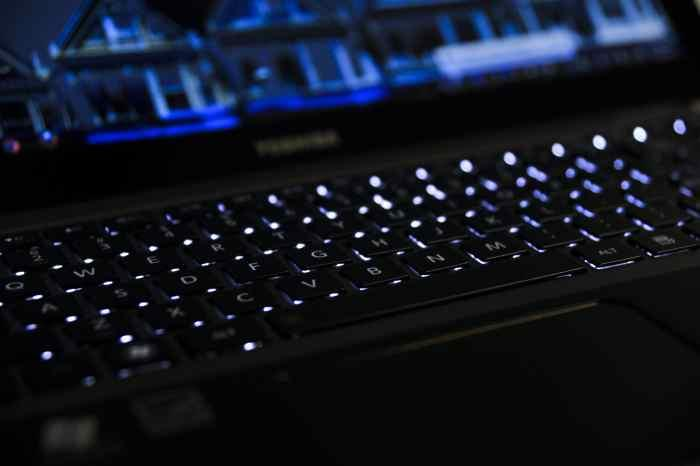 The backlit keyboard in action.