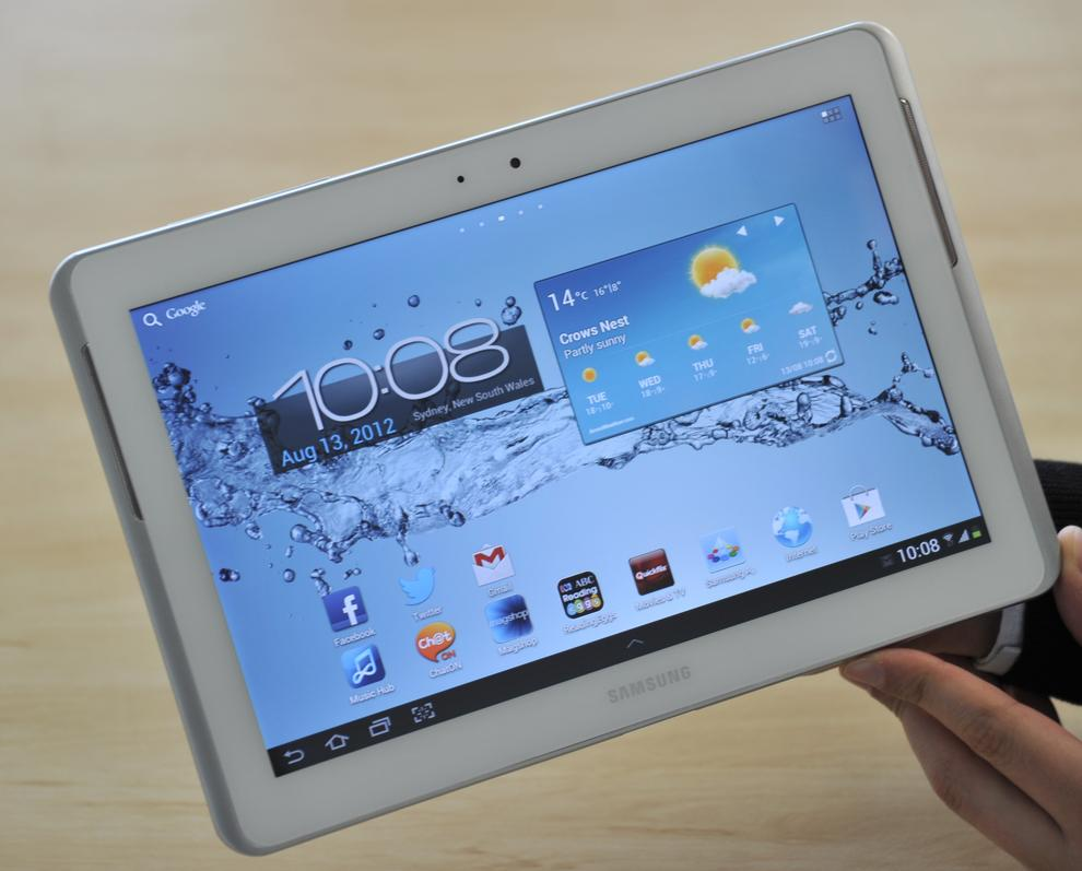 The biggest change on the Galaxy Tab 2 10.1 is the speaker placement and silver bezel.