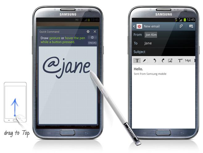 The Quick Command feature allows users to open frequently used apps by pre-registering marks with the S Pen.