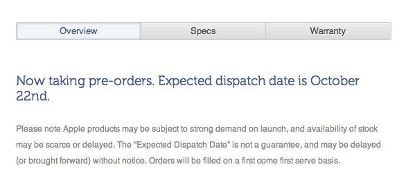 """A screenshot from the Kogan Web site, detailing the """"expected"""" dispatch date of 22 October."""