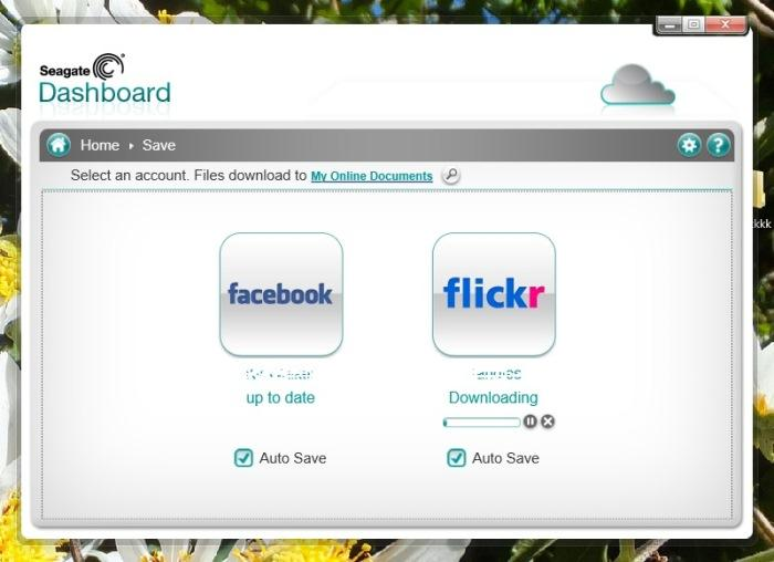 Seagate Dashboard 2.0: you can use this software to automatically backup photos that you have uploaded to your Facebook and Flickr accounts.