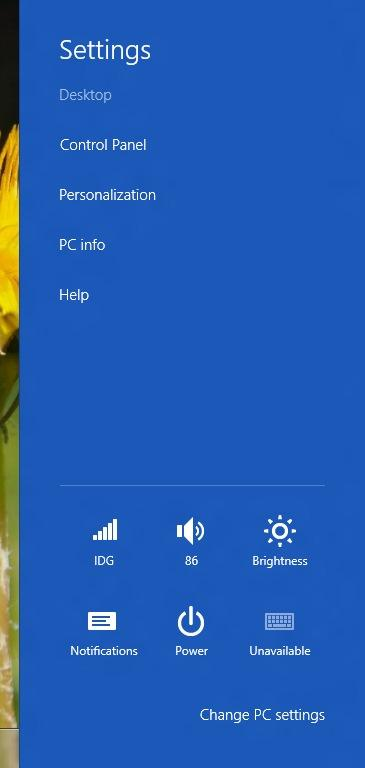 Settings can be accessed easily from the Charms bar and contain useful functions such as brightness and volume controls, which are especially handy when using touch.