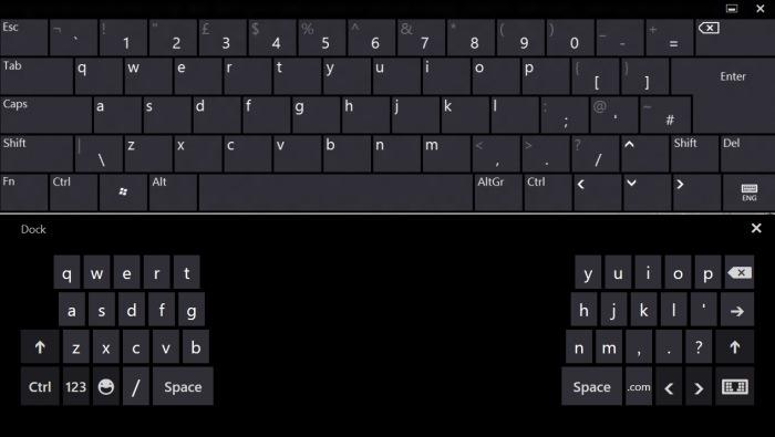 The full keyboard is shown on the top half of the screenshot, while the split keyboard is shown on the bottom half. The split keyboard is designed to used with your thumbs only. The on-screen keyboard can be used on touchscreen computers only.
