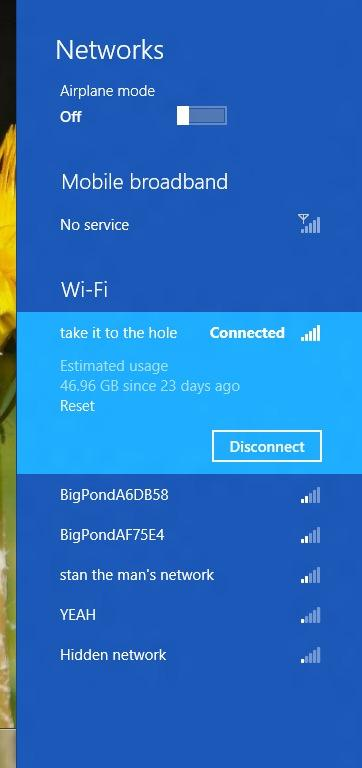Wireless networks appear in the large bar on the right side of the screen when you click or tap the networking icon in the System Tray. When you click on a network that you are connected to, you can also see its data usage.