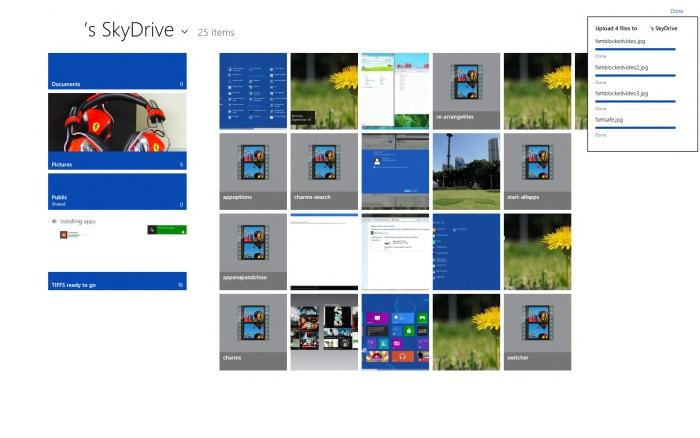 The new-style SkyDrive app.