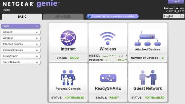 The main page of the Genie interface.