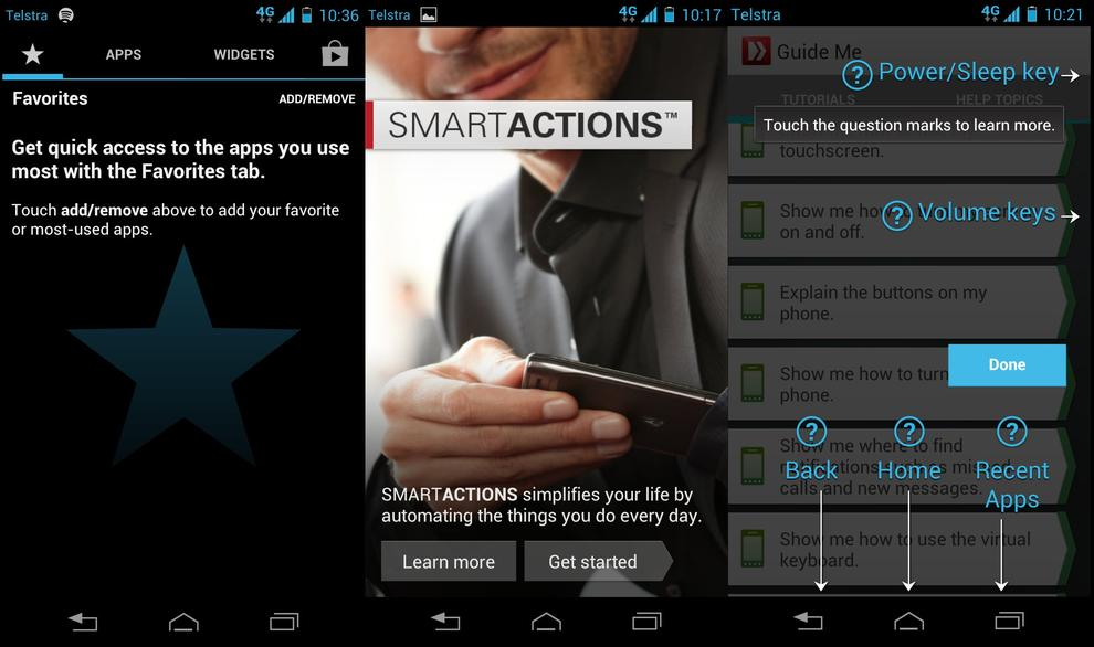 From left to right: Motorola's favourite menu, the Smart Actions app and the handy Guide Me app.