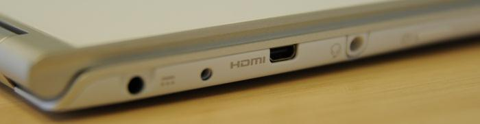 The ports on the left side: power, secondary battery jack (for an optional extra battery), micro-HDMI, headphone/microphone jack. The power button is also on this side.