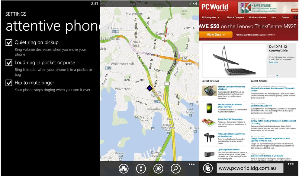 From left to right: HTC's 'attentive phone' settings, the default Maps app and the Internet Explorer browser.