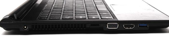 Left side ports: power, Gigabit Ethernet, VGA, HDMI, USB 3.0.