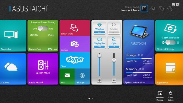 The Taichi software interface.