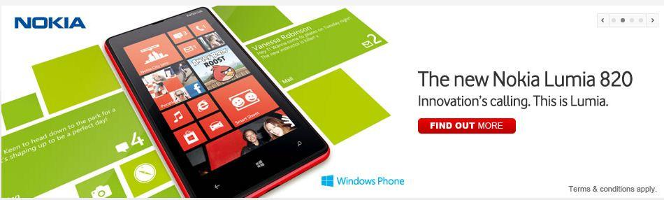 The Nokia Lumia 820, as it appears on the Vodafone Web site.