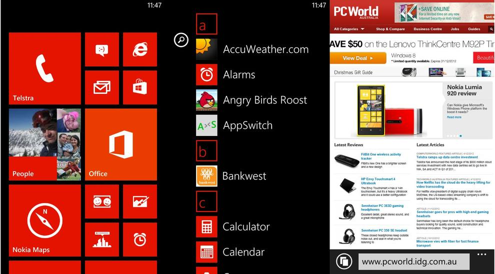 The Windows Phone 8 OS is smooth and fast.