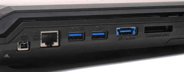 On the left side you get FireWire, Gigabit Ethernet, USB 3.0, eSATA and an SD card slot.