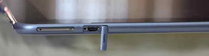 The micro HDMI port on the left, along with the volume buttons.