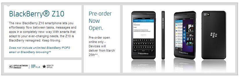 The BlackBerry Z10 pre-order page on the Optus website.