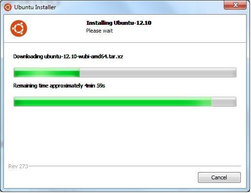 Wubi handles the download and installation of Ubuntu.