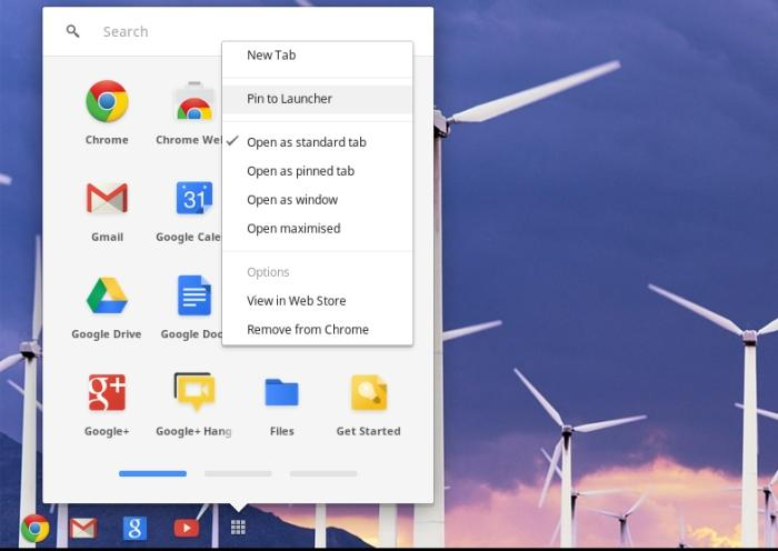 The app drawer holds all of the pre-installed Google apps as well as any others you install from the Chrome Web Store. You can also pin them to the Launcher at the bottom of the screen.