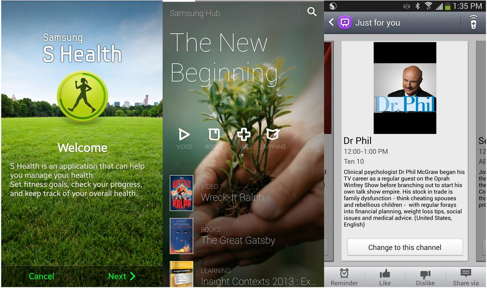 From L to R: The S Health app, the Samsung Hub and the WatchON app.