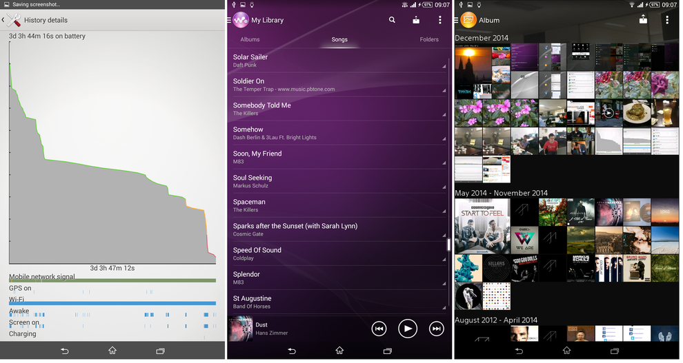 Handling music is Sony's Walkman player - centre pane. Audiophiles will appreciate its compatibility with high quality music formats, such as FLAC and HRA. Quality headphones are needed to get the most out of this feature.