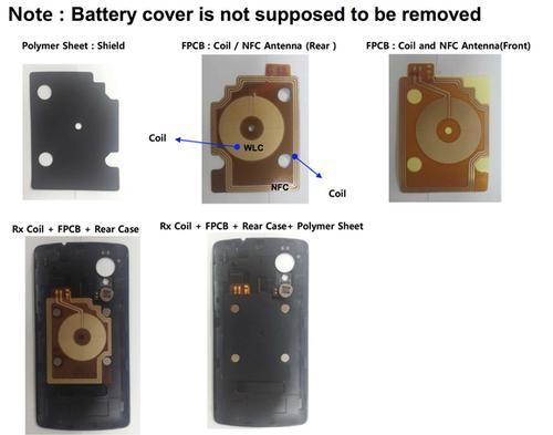 Photos of the Nexus 5's inner rear case.