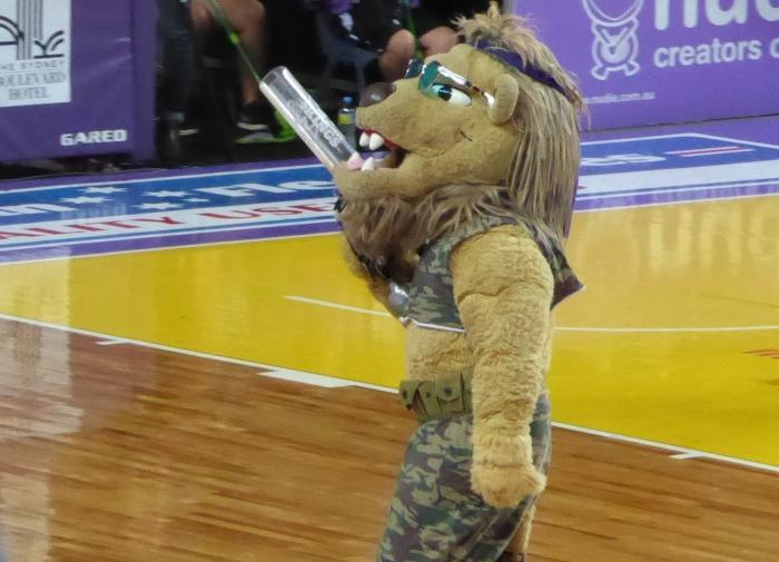 Using the zoom at a Sydney Kings basketball game to get a close shot of the Lion. Image cropped to focus on the famous furball.