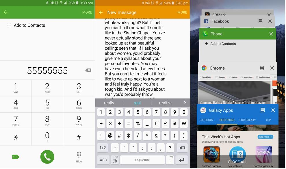 1. The dialer is now stock; 2. The messaging application is now stock; 3. The task manager is mostly stock.