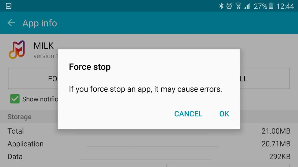 Force stop only apps you are familiar with. Doing so means the application will not run again unless instructed.